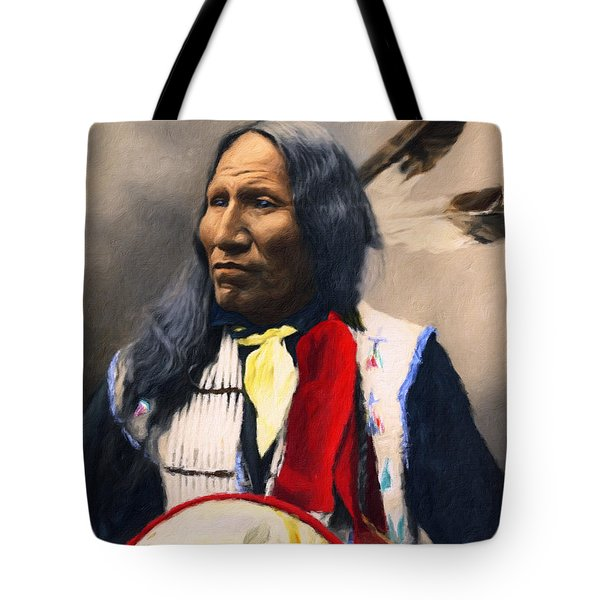Tote Bag featuring the painting Sioux Chief Portrait by Isabella Howard