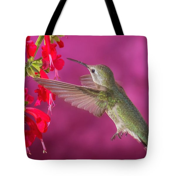 Sipping At The Salvia Tote Bag