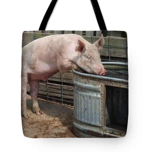 Sipping Pig Tote Bag by Scott Kingery