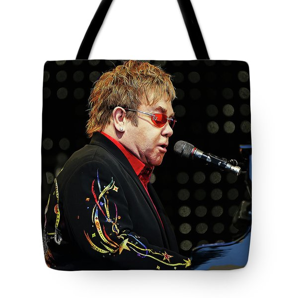 Sir Elton John At The Piano Tote Bag