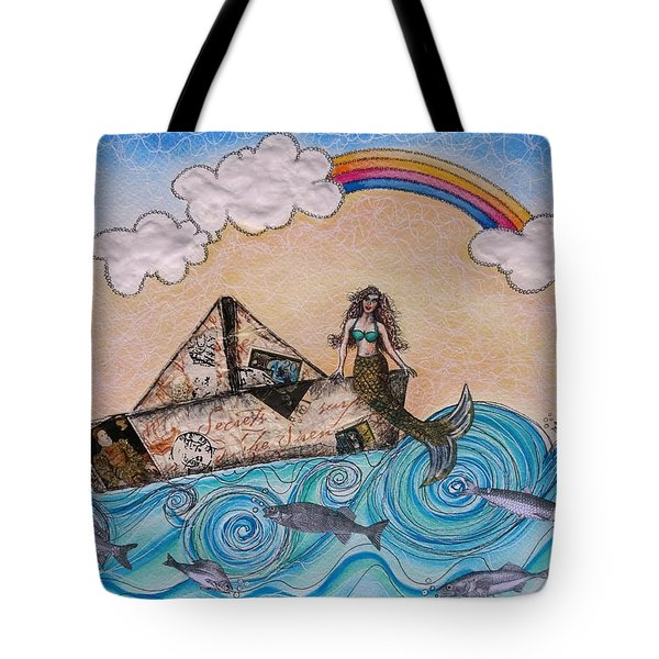 Siren On A Paper Boat Tote Bag