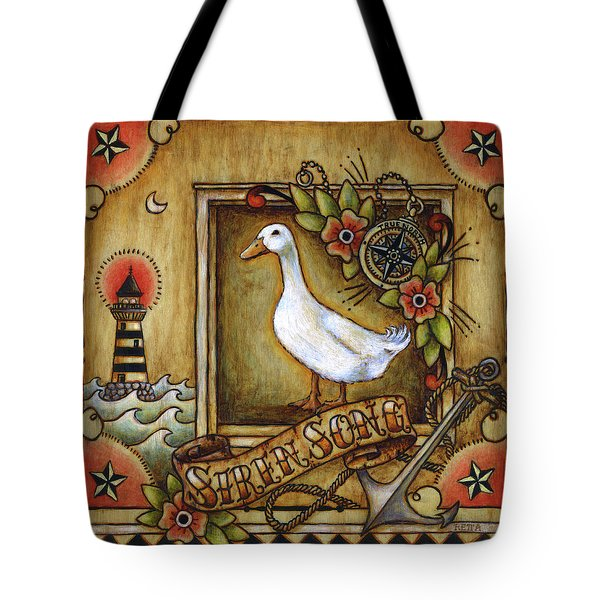 Tote Bag featuring the painting Siren Song Aka Ducking In For A Tattoo by Retta Stephenson