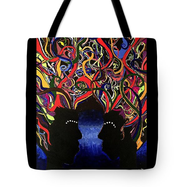 Sis The Twins - Abstract Silhouette Painting - Sisterhood - Abstract Painting  Tote Bag