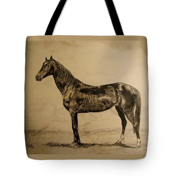 Tote Bag featuring the drawing Sisi by Melita Safran