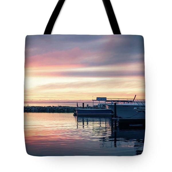 Sister Bay Marina At Sunset Tote Bag