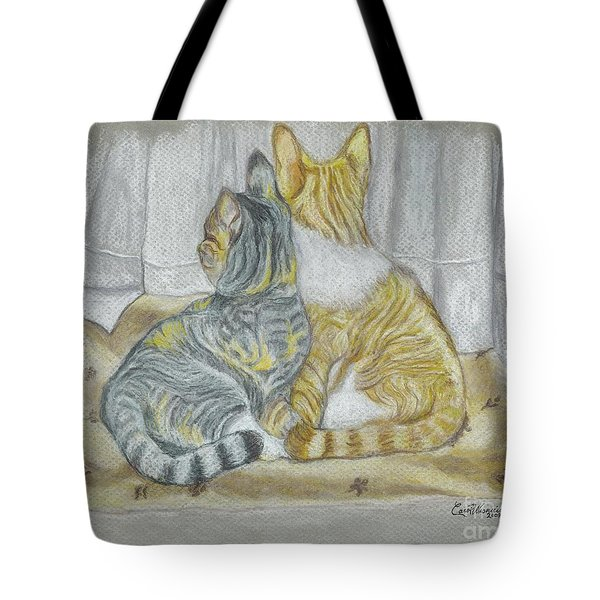 Tote Bag featuring the drawing Sisters  by Carol Wisniewski