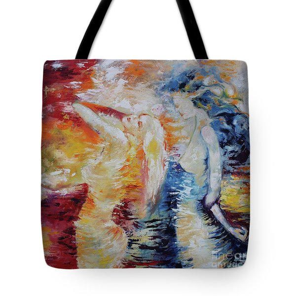 Tote Bag featuring the painting Sisters by Marat Essex