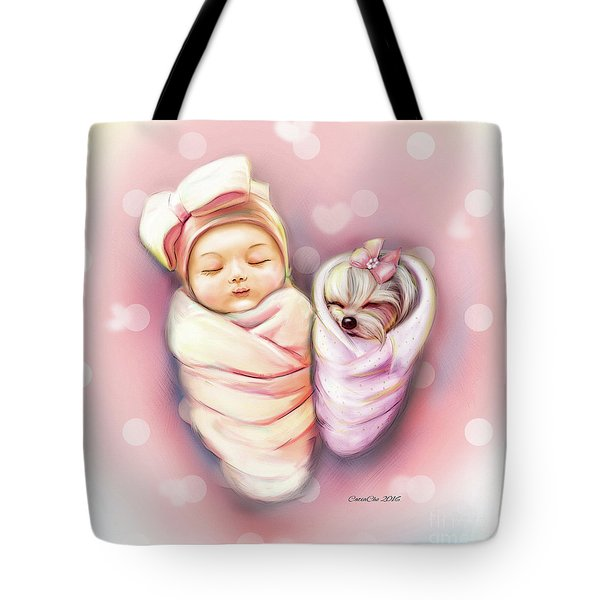 Tote Bag featuring the painting Sisters Nap Time by Catia Lee