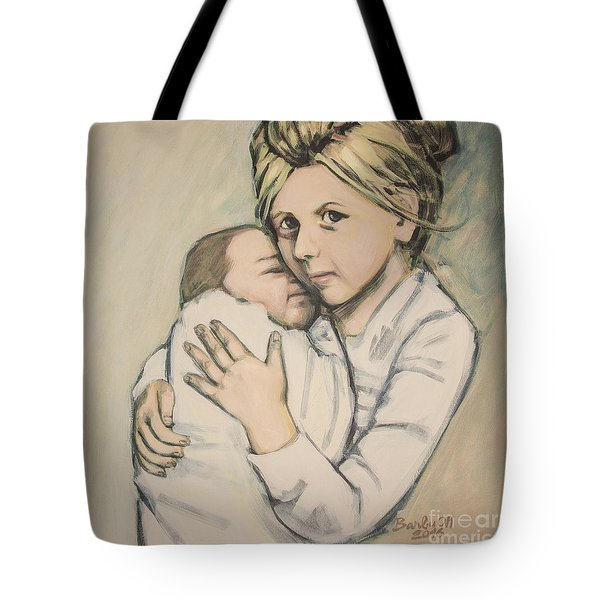 Tote Bag featuring the painting Sisters by Olimpia - Hinamatsuri Barbu