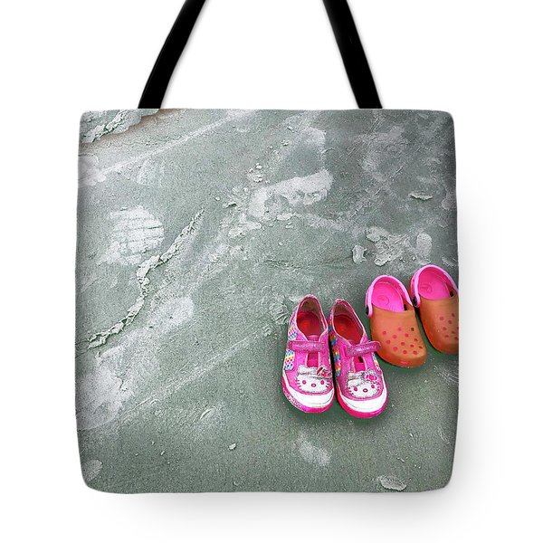 Sisters Playing Barefoot In The Sand Tote Bag