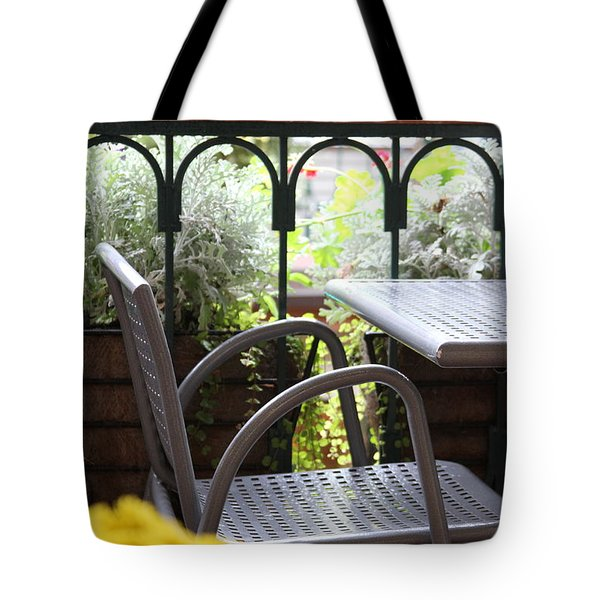Tote Bag featuring the photograph Sit A While by Laddie Halupa