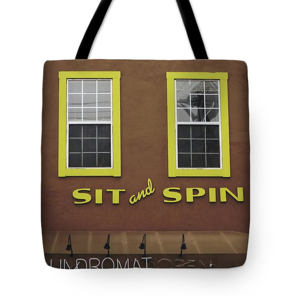 Tote Bag featuring the mixed media Sit And Spin Laundromat Color- By Linda Woods by Linda Woods