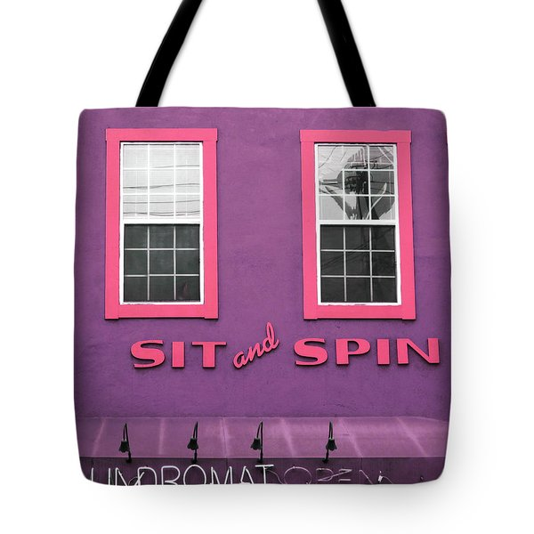 Tote Bag featuring the mixed media Sit And Spin Laundromat Purple- By Linda Woods by Linda Woods