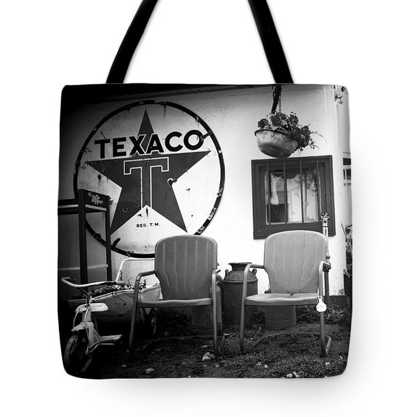 Sitting At The Texaco Black And White Tote Bag