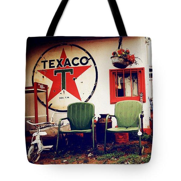 Sitting At The Texaco Tote Bag