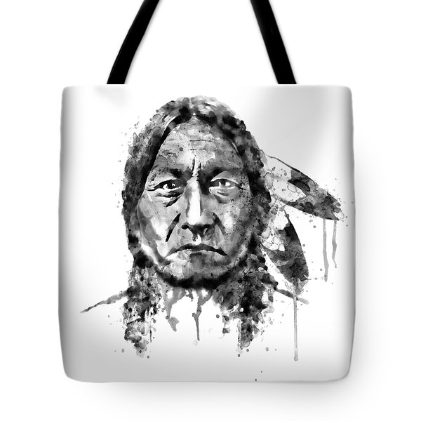 Tote Bag featuring the mixed media Sitting Bull Black And White by Marian Voicu