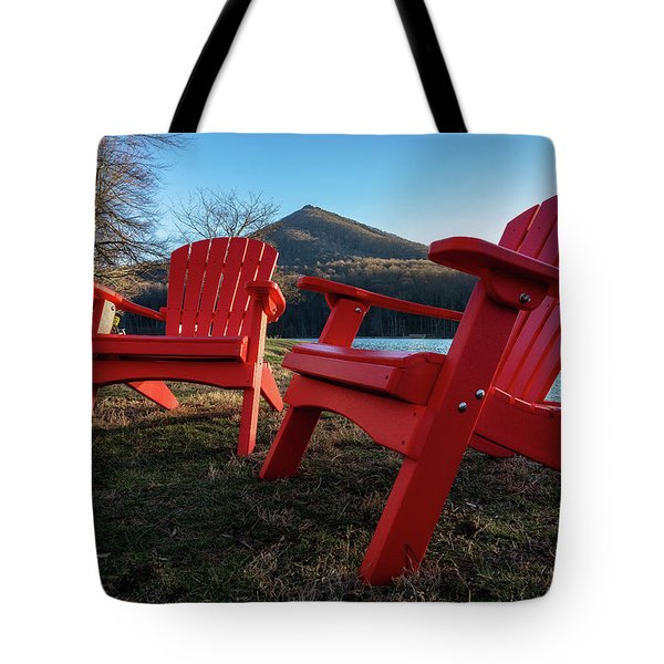Sitting By The Lake Tote Bag by Steve Hurt