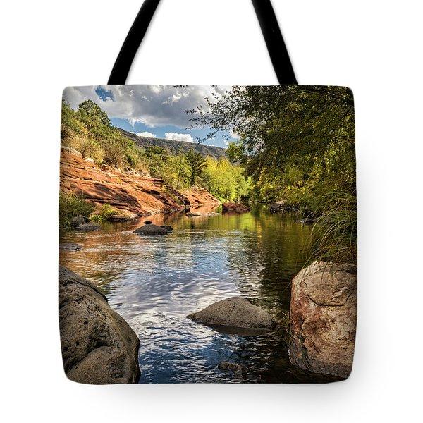 Tote Bag featuring the photograph Sitting Creekside Oak Creek  by Saija Lehtonen