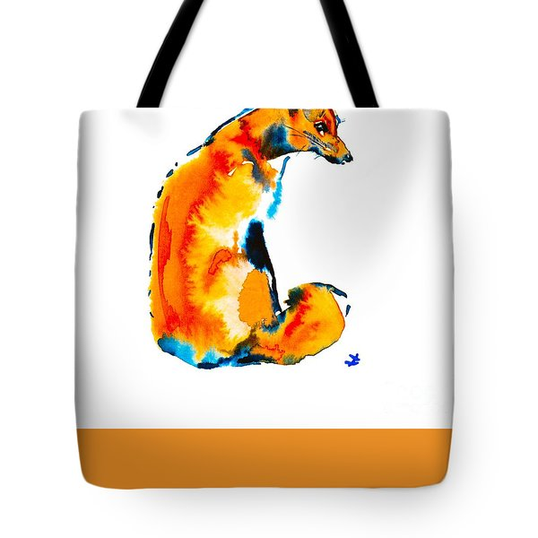 Tote Bag featuring the painting Sitting Fox by Zaira Dzhaubaeva