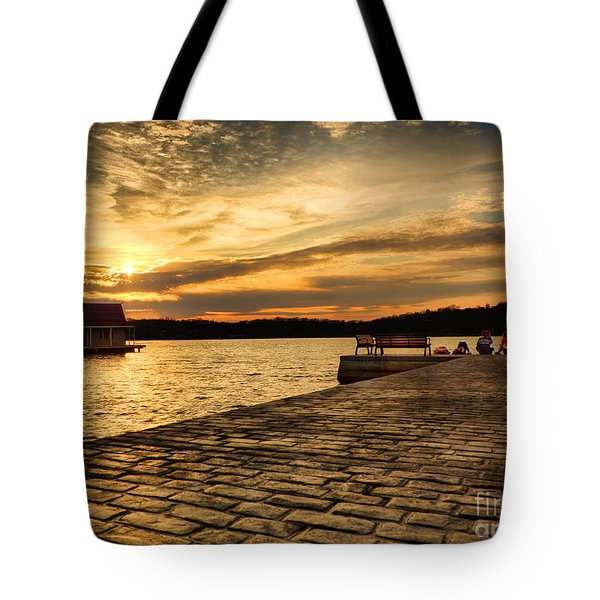 Tote Bag featuring the photograph Sitting On The Dock Of The Lake by Mark Miller