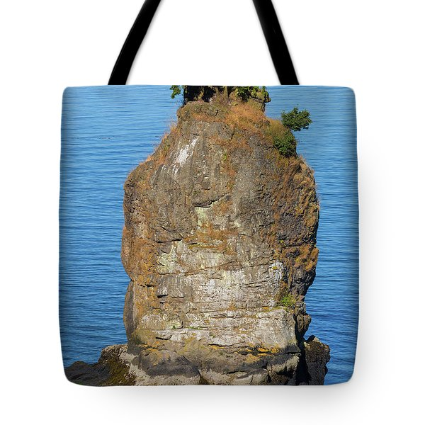 Siwash Rock By Stanley Park Tote Bag by David Gn