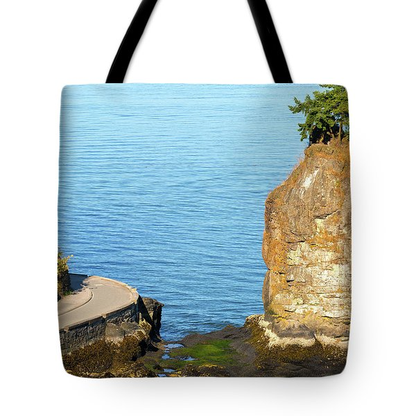 Siwash Rock By Stanley Park Seawall Tote Bag by David Gn