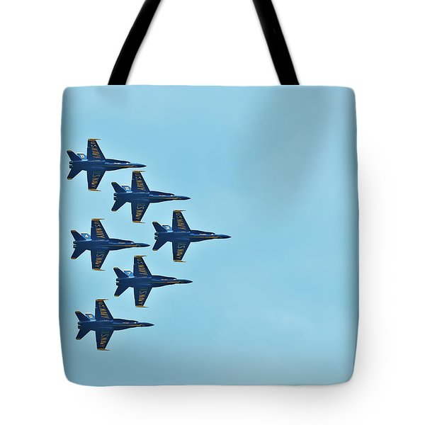 Six Blue Angels In The Clear Blue Sky Tote Bag