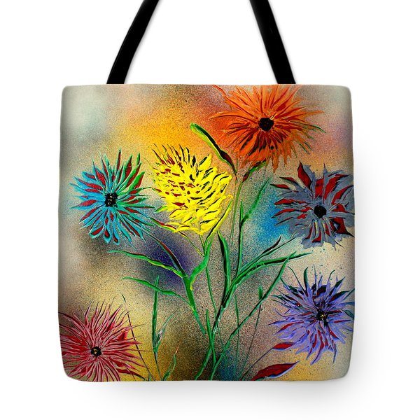 Tote Bag featuring the painting Six Flowers - E by Greg Moores