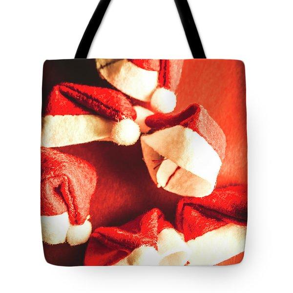 Six Santa Hats In Vintage Tone Tote Bag