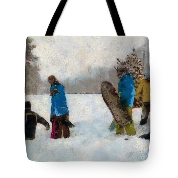 Six Sledders In The Snow Tote Bag