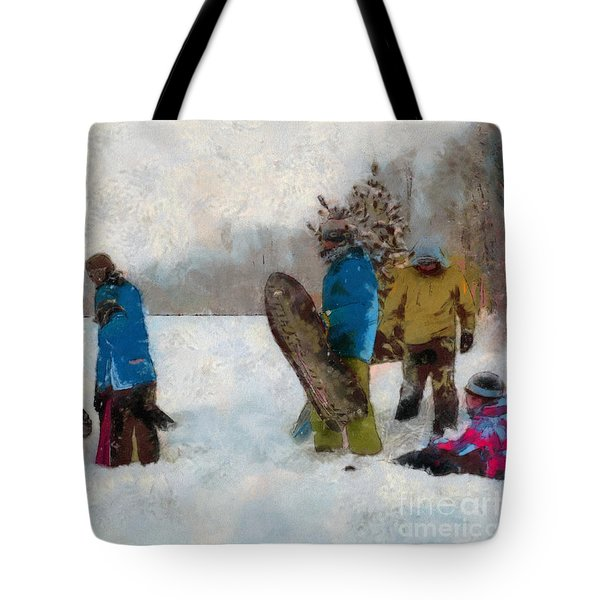 Six Sledders In The Snow Tote Bag by Claire Bull