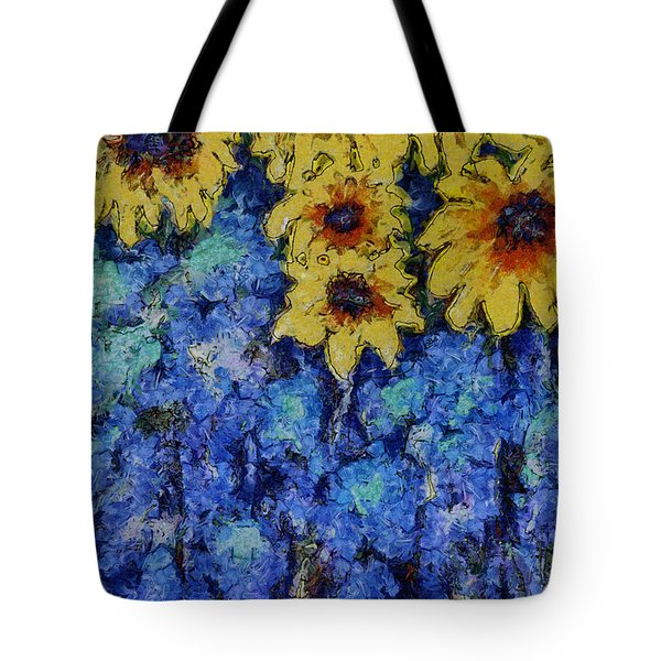Six Sunflowers On Blue Tote Bag