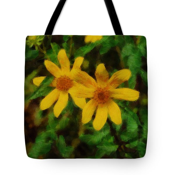 Sixteen Petals  Two Yellow Wildflowers Tote Bag