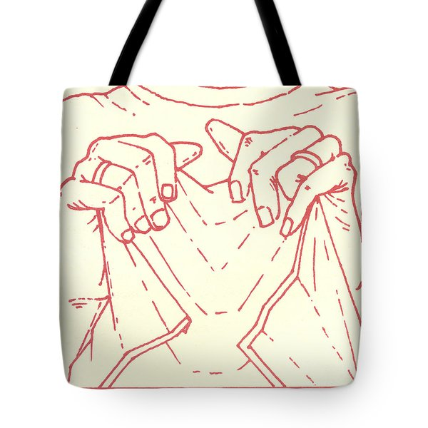 Tote Bag featuring the drawing Sixth Station- Veronica Wipes The Face Of Jesus by William Hart McNichols