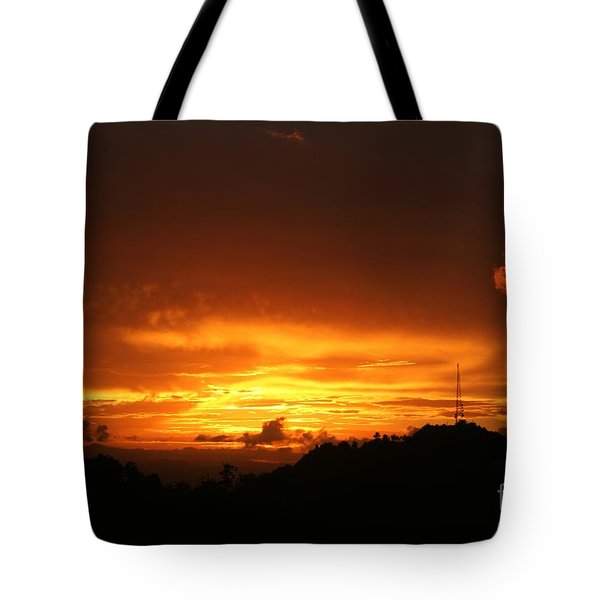 Tote Bag featuring the photograph Sizzling Sunset by The Art of Alice Terrill