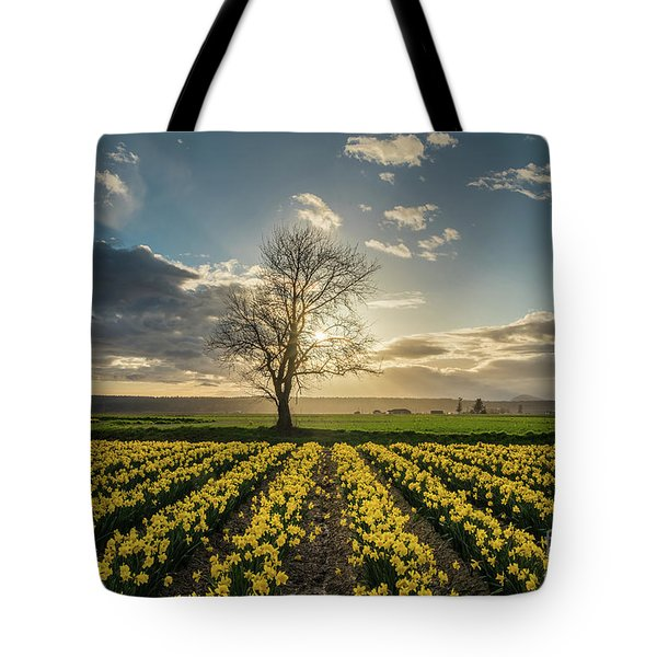 Tote Bag featuring the photograph Skagit Daffodils Lone Tree  by Mike Reid