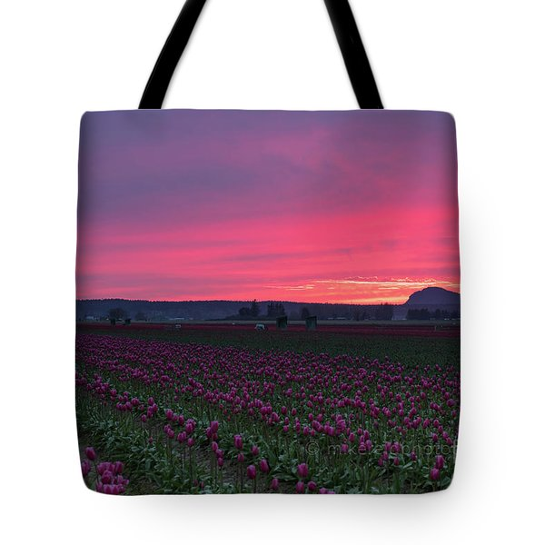 Tote Bag featuring the photograph Skagit Valley Burning Skies by Mike Reid