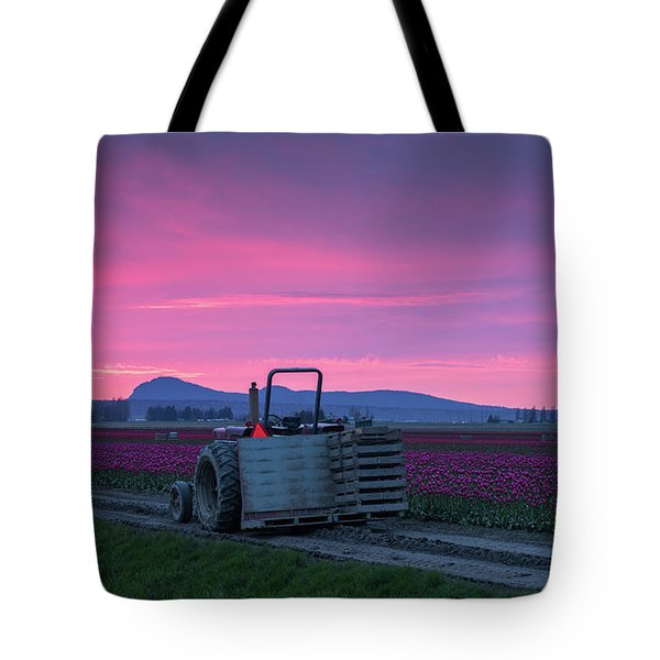 Tote Bag featuring the photograph Skagit Valley Dusk Calm by Mike Reid