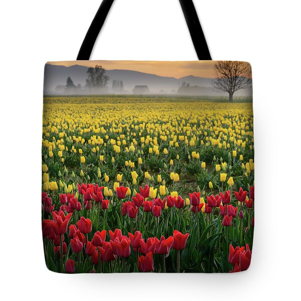 Skagit Valley Misty Morning Tote Bag