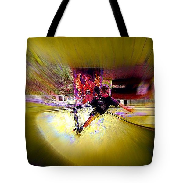 Tote Bag featuring the photograph Skateboarding by Lori Seaman