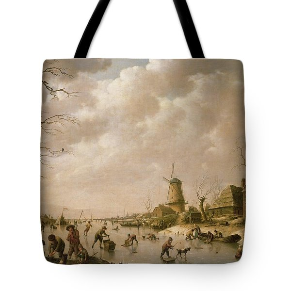 Skaters On A Frozen Canal Tote Bag by Hendrik Willem Schweickardt