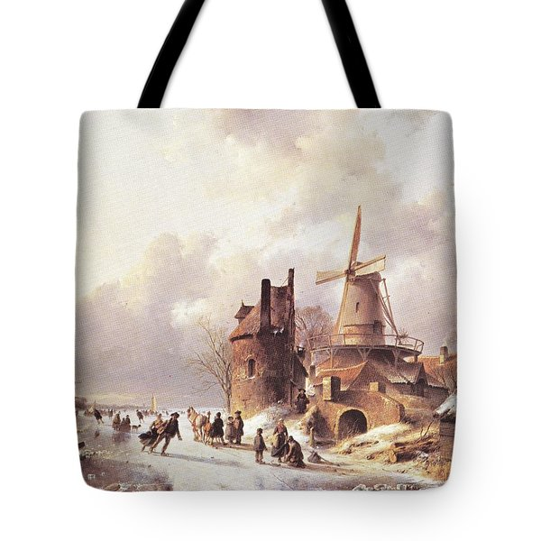 Skaters On A Frozen River Tote Bag by Reynold Jay