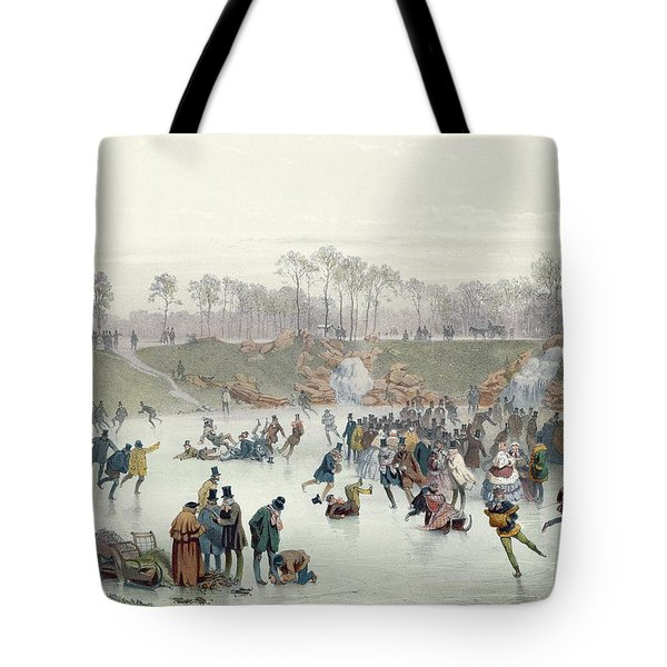 Skaters On The Lake At Bois De Boulogne Tote Bag by Ice Skaters on the Lake at Bois de Boulogne