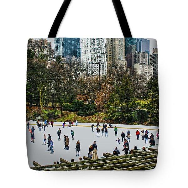Skating At Central Park Tote Bag