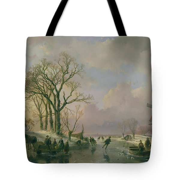 Skating In Holland Tote Bag by Andreas Schelfhout