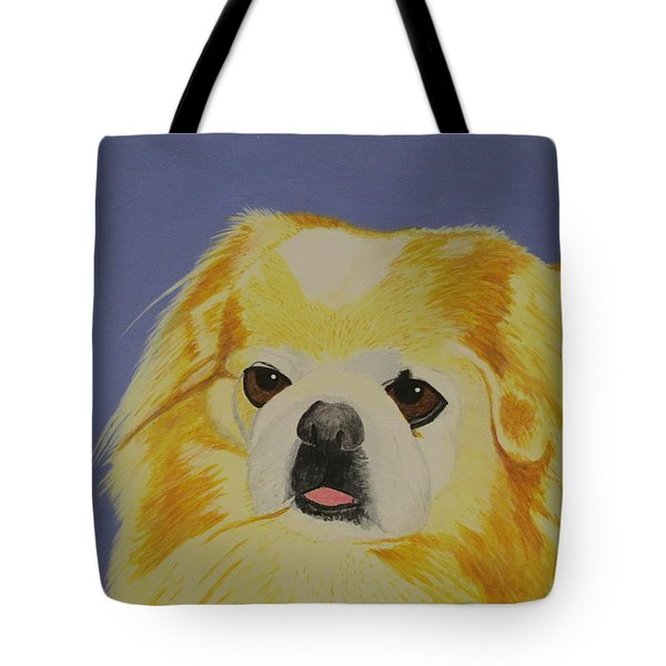 Tote Bag featuring the painting Skeeter The Peke by Hilda and Jose Garrancho