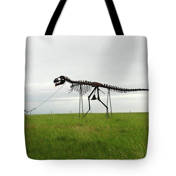 Skeletal Man Walking His Dinosaur Statue Tote Bag