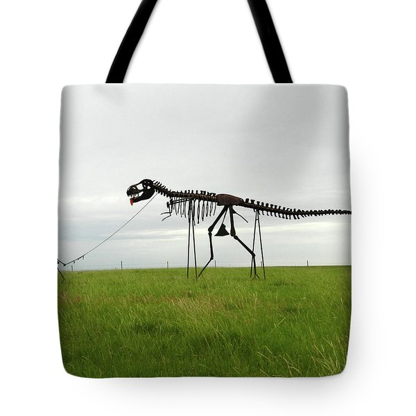 Skeletal Man Walking His Dinosaur Statue Tote Bag