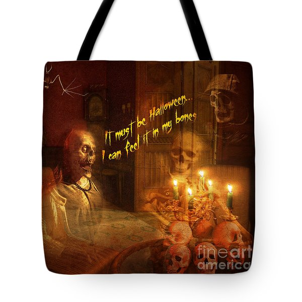 Tote Bag featuring the digital art Skeleton Card 2016 by Kathryn Strick