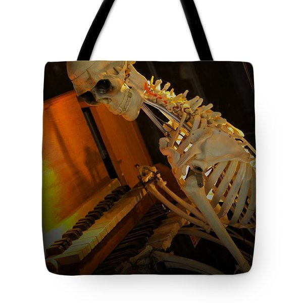 Tote Bag featuring the photograph Skeleton Musician by Bob Pardue